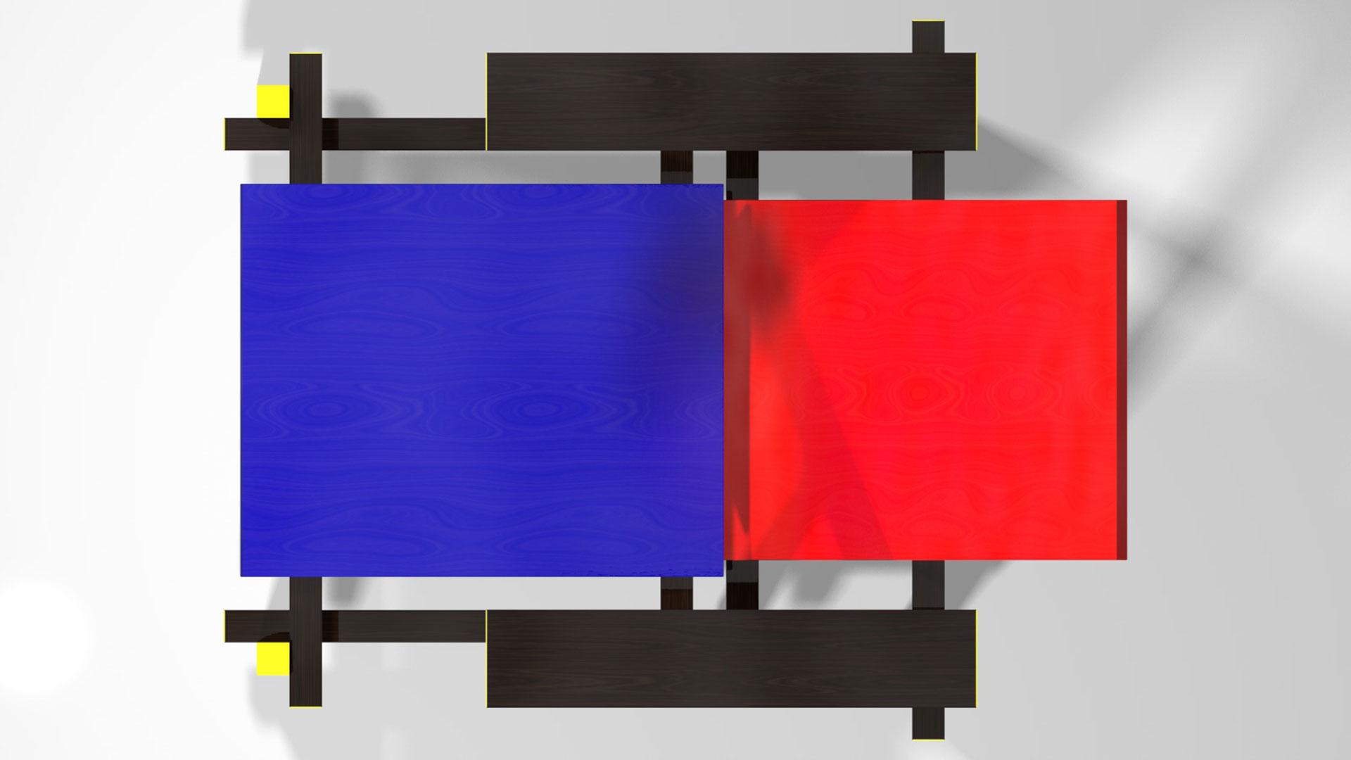Pin piet mondriaan on pinterest - Chaise rouge et bleue ...
